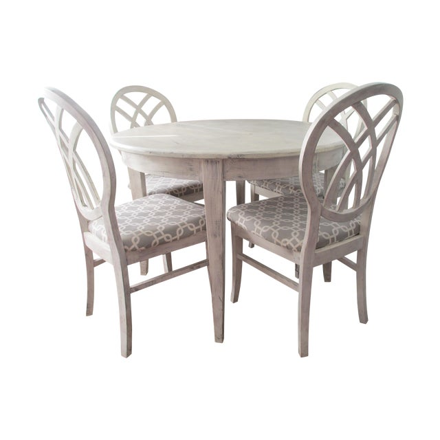 Contemporary Round White Dining Set - Image 1 of 9