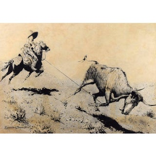 "Edward Borein (1872-1945) Ink Wash, ""Any Native with a Lasso Can Always Get Beef"