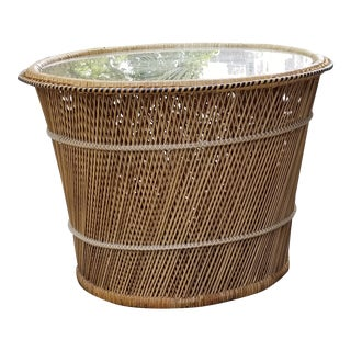 Woven Rattan Wicker & Glass Top Table
