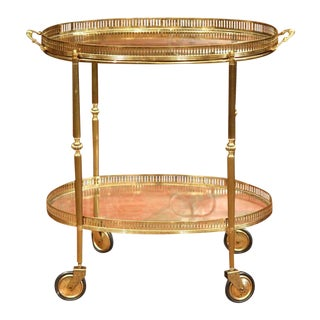 Early 20th Century French Oval Brass Bar Cart on Wheels
