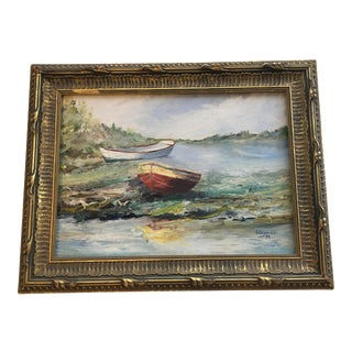 Vintage Oil Painting of Boats Washed Ashore