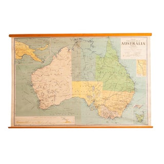 Vintage Australia Pull Down Map
