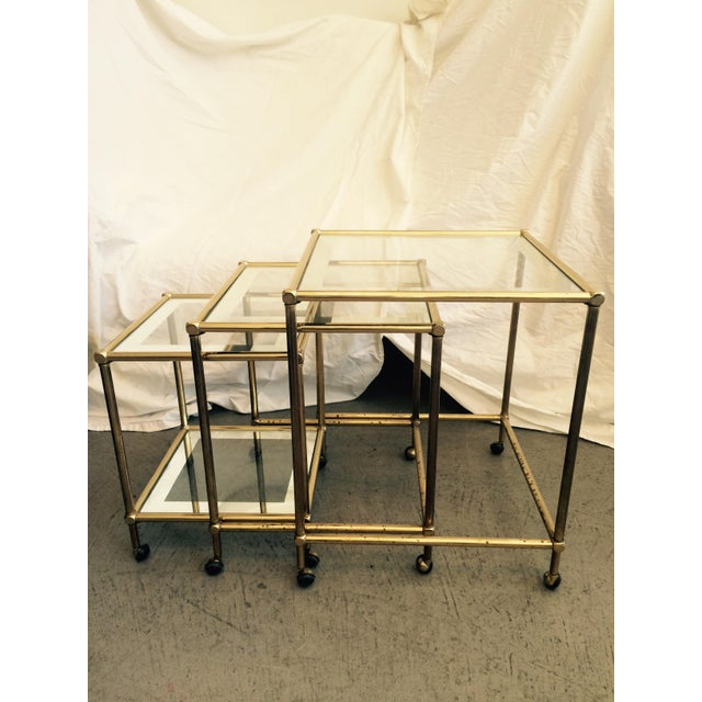 Image of Brass Nesting Tables, Pace Style - Set of 3