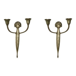 Pair of French Gilt Bronze Two-Light Wall Sconces by Sue Et Mar