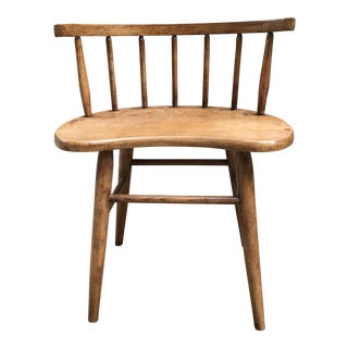 Mid-Century Modern Rounded Spindle Back Wood Chair