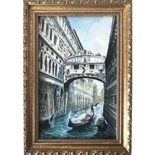 "Vintage Watercolor of the ""Bridge of Sighs"" Venice"
