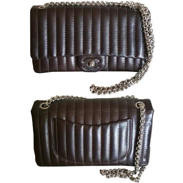 Image of Chanel Brown Stripe Stitched Shoulder Bag