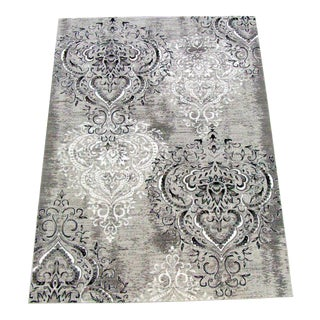 "Damask Gray & White Rug - 6'7"" X 9'7"""