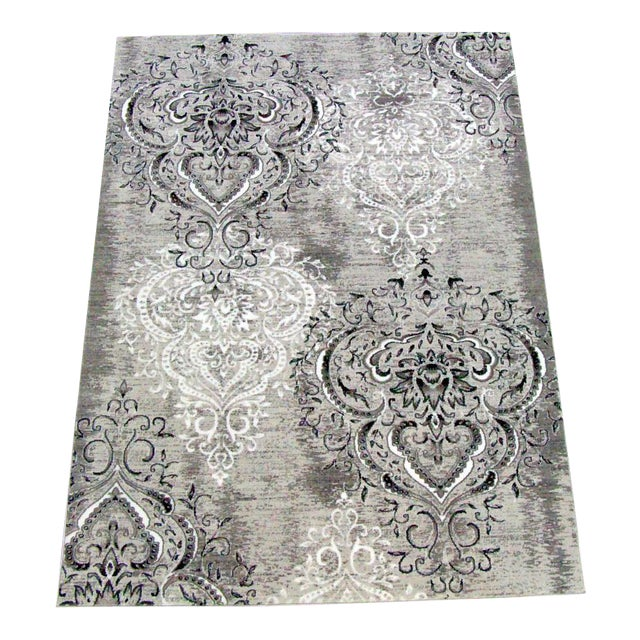 Image of Damask Gray & White Rug - 8' x 10'7""