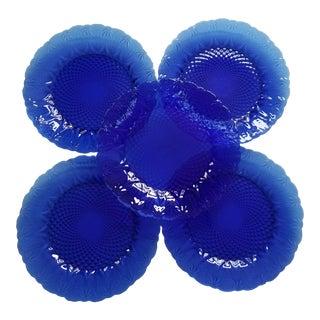 French Leaf Design Cobalt Blue Dinner Plates - Set of 5