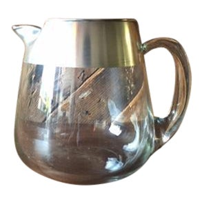 Vintage Dorothy Thorpe Silver Trim Glass Pitcher