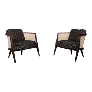 Pair of Cane Back Lounge Chairs by Harvey Probber