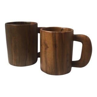 Haitian Striped Hardwood Mugs - A Pair