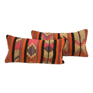 Striped Turkish Kilim Cushions - A Pair
