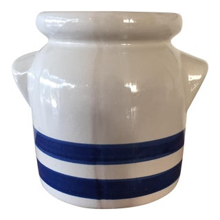 Blue Striped Stoneware Crock