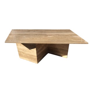 Vintage Modern Geometric Travertine Coffee Table