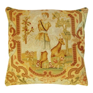 1850s Antique French Needlepoint Pillow