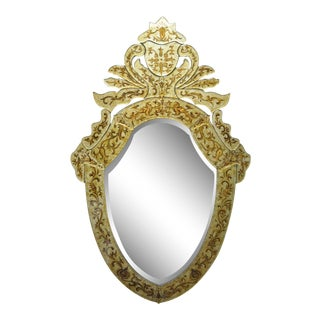 Decorator Contemporary Venetian Style Gold Etched Shield Wall Mirror