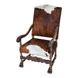 Stunning Antique Carved Oak & Cowhide Throne Armchair