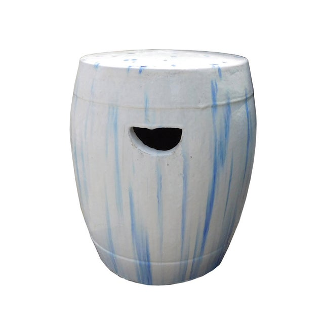Chinese White & Blue Ceramic Garden Stool - Image 5 of 6
