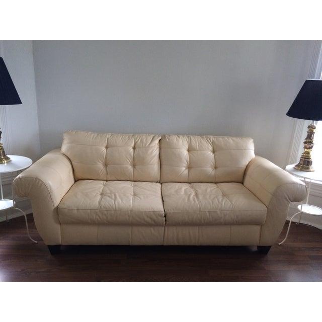 Leather Cream Sofa: Cream Leather Tufted Sofa