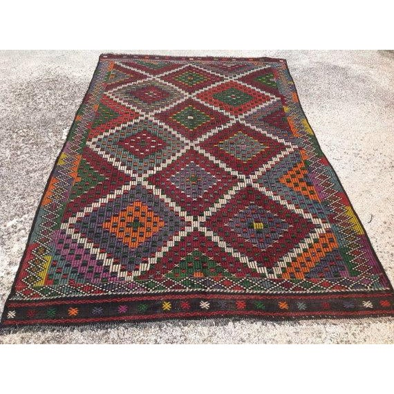 "Vintage Turkish Kilim Rug - 6'9"" X 11'4"" - Image 2 of 6"