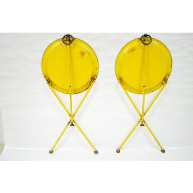 Pair of Vintage Italian Neoclassical Tole Metal Folding Side Tables Yellow Courting - Image 10 of 11