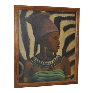 Vintage Oil Portrait of an African Woman