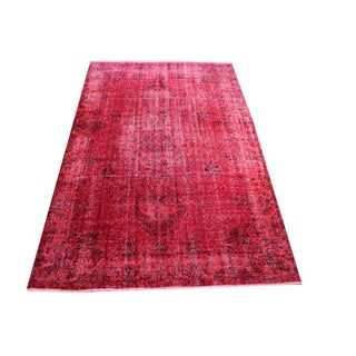 Overdyed Vintage Rug Red Carpet - 5'7'' x 8'8''