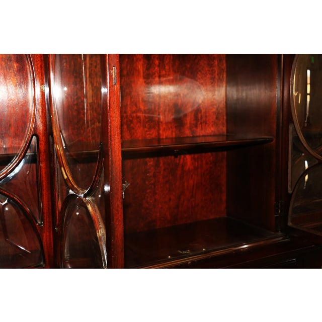 Image of Mahogany Breakfront Secretary China Cabinet