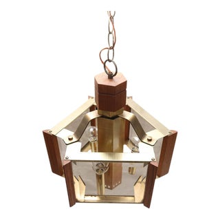 1970s American Frederick Ramond Brass and Teak Chandelier