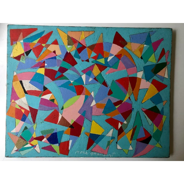 Vintage Geometric Abstract Painting #42 - Image 2 of 6