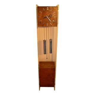 Mid-Century Burlwood & Lucite Grandfather Clock