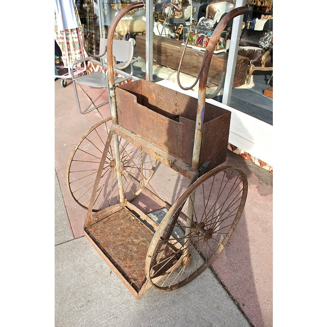 1930s Rusty Iron Welded Bar Cart - Image 7 of 7