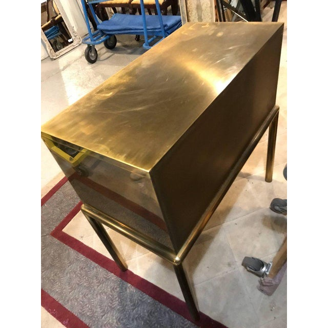Mastercraft Brass Two-Drawer Small Chest of Drawers Cabinet - Image 9 of 9