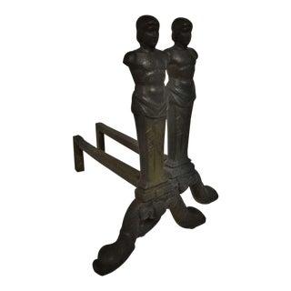Rare Pair of Figurative Andirons