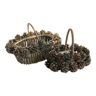 Rustic Wood Pinecone Baskets - A Pair