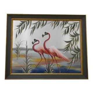 M. Devoe Vintage Mid-Century Flamingo Painting