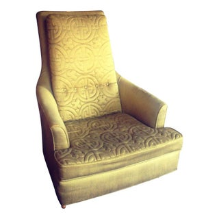 Mid-Century Lounge Chair Upholstered in Silk