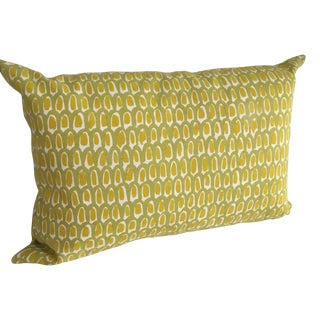 Green and Yellow Cotton Canvas Pillow