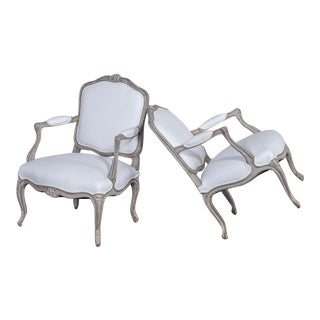 Pair of Antique French Louis XV Painted Armchairs circa 1880