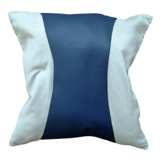 Blue & Gray Leather Pillow