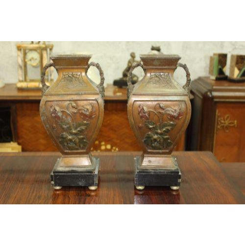 Big Pair of French Art Deco Vase With Marble Base Circa 1935s - Image 4 of 10