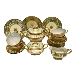 1920s Japanese Porcelain Lusterware 22Karat Gold Gilt Tea - Set of 18