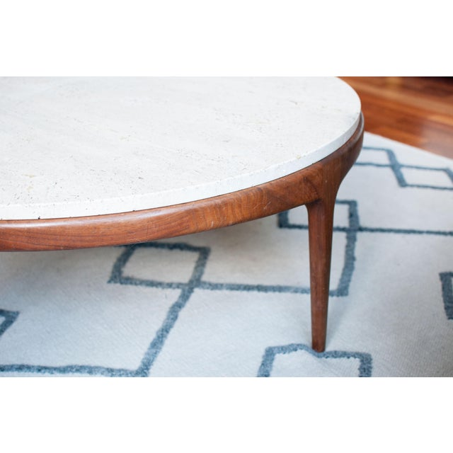 Vintage Travertine and Hardwood Coffee Table - Image 7 of 10