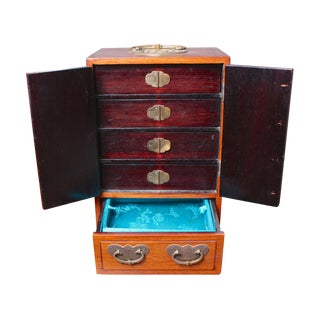 Vintage Asian-Inspired Wood and Brass Jewelry Box
