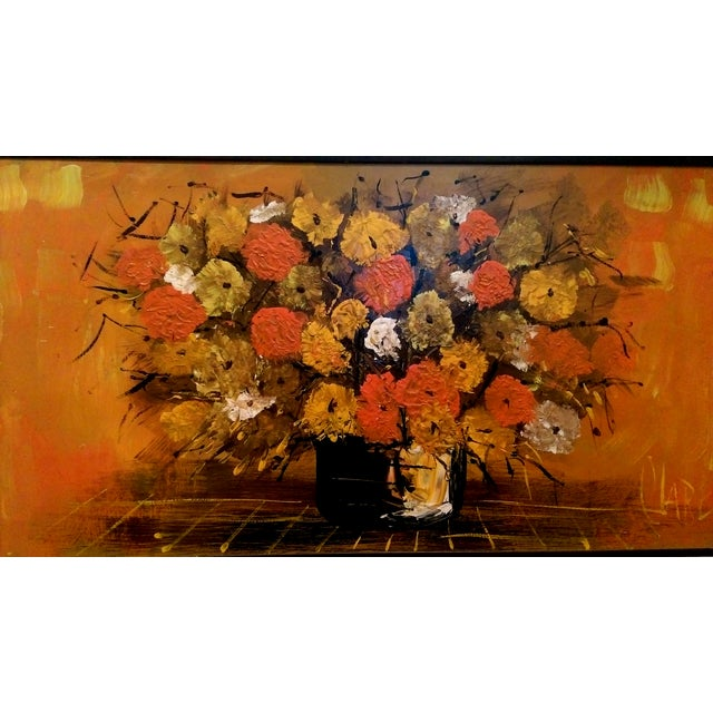 """Mid Century Floral Painting - Signed """"Clare"""" - Image 2 of 10"""