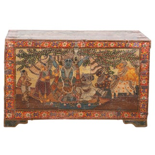 Hand-Painted Indian Trunk