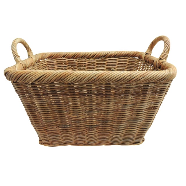 Vintage Wicker Laundry Basket - Image 1 of 4