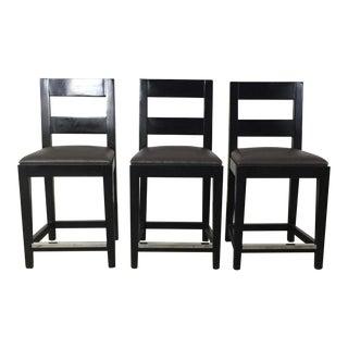 Kravet Black Leather Counter Stools - Set of 3